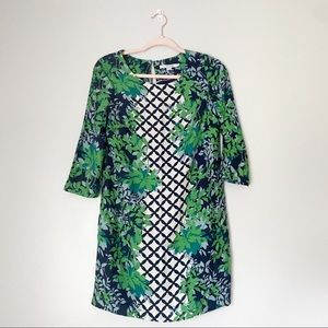 Boden Navy Green Floral Shift Dress 3/4 sleeve